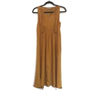 [LOFT] Mustard sleeveless maxi v-neck dress M